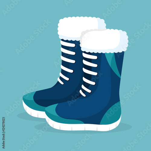 Fototapeta winter season boots icon vector illustration design obraz