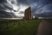 Ruins Of The Tynemouth Priory And An Old Cemetery At Sunset;Tynemouth Tyne And Wear England