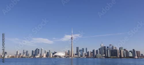 View over lake ontario towards downtown toronto and the cn tower;Toronto ontario canada