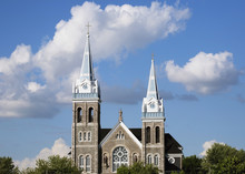Church Building With A Bell Tower And Clock Tower;Farnham Quebec Canada