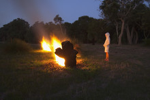 Standing By A Large Bonfire;Dunsborough West Australia Australia