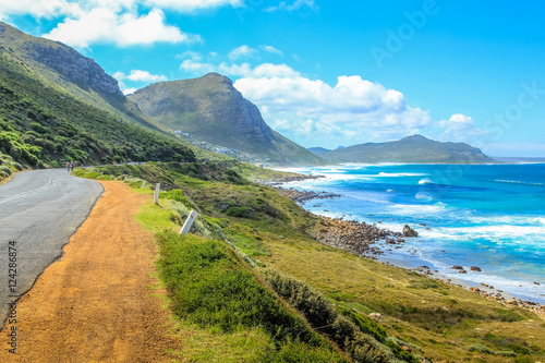 Foto op Canvas Zuid Afrika Cape Peninsula scenic drive, South Africa. Misty Cliffs a little village between Kommetjie and Scarborough, near Cape Town. Misty Cliffs is famous for the fog in a stormy and windy days.