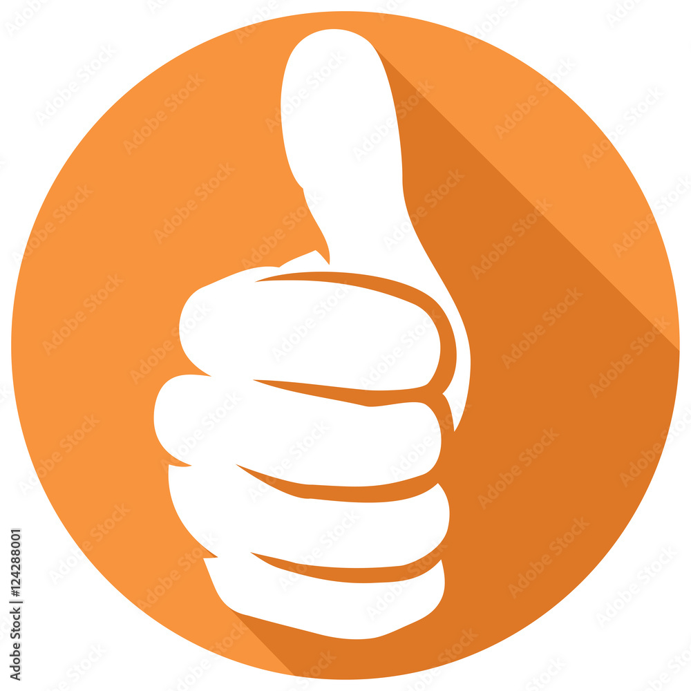 Fototapety, obrazy: thumb up sign flat icon