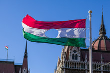 Hungarian Revolution Of 1956's Flag Before Hungarian Parliament