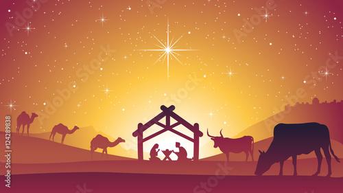 Fényképezés  Birth of Jesus Christ - Christmas Nativity Scene