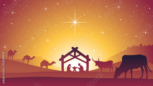 Birth of Jesus Christ - Christmas Nativity Scene Canvas Print