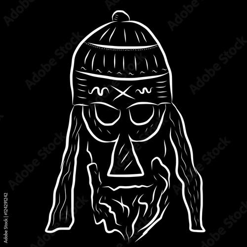 Photo  A woodcut style image of viking man