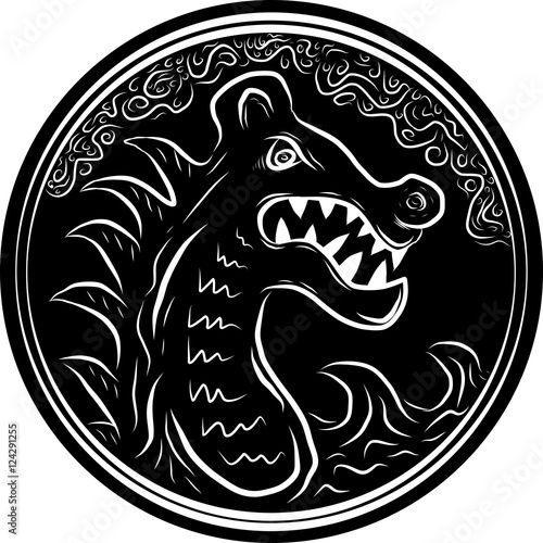 A viking dragon head and round pattern Poster