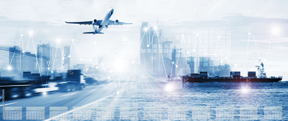 Fototapety, obrazy: container truck ,ship in port and freight cargo plane in transport and import-export commercial logistic ,shipping business industry