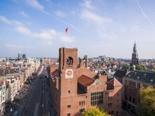 Aerial View Aа Amsterdam City, Near Beurs Van Berlage Place