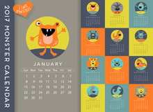 2017 Calendar Illustrated With A Cute Monster For Every Month