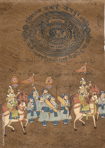 Procession of maharajah on horse, Indian miniature painting on 19th century paper Canvas Print
