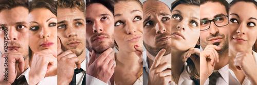 Fotografia, Obraz  Collage thoughtful expressions