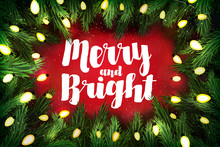 Merry And Bright Christmas Greeting Card With Pine Wreath And Ho