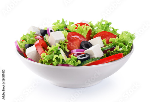 Fotografie, Obraz  Salad with cheese and fresh vegetables isolated on white backgro