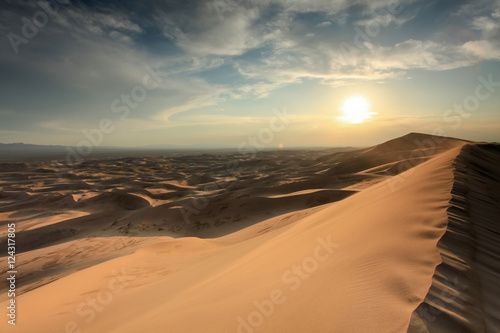 Sunset over the Gobi desert, dune Hongoryn, Mongolia Poster