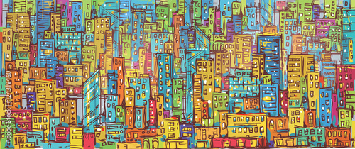 Acrylic Prints Graffiti City background, hand drawn vector illustration
