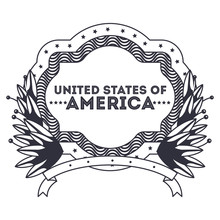 Label Of Usa Icon. America And National Government And Country Theme. Isolated Design. Vector Illustration