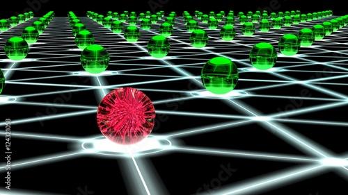 Hacked hexagon network of sphere nodes cybersecurity concept Wallpaper Mural