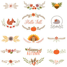Autumn Set With Turkey, Squirrel, Hedgehog, Fall Leaves, Floral Motifs, Pumpkin, Acorn, Wreath, Laurels And Banner.