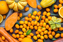 Autumn Food Background, Top View