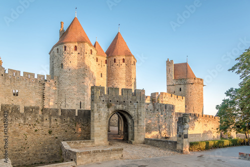 Photo Stands Fortification View at the Narbonnaise Gate to Old City of Carcassonne - France