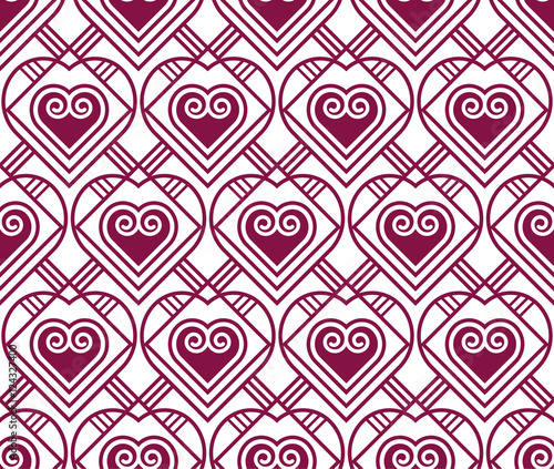 Photo Stands Psychedelic marsala color vector pattern with heart in art deco style. seaml