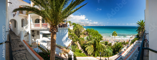 Sunny panoramic view of Mediterranean sea from viewpoint of Europe's balcony in Nerja, Andalusia province, Spain.