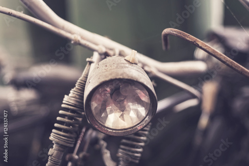 Fotografering  Close up headlight of old vintage bicycle