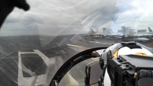 POV Fighter Jet Takeoff, F/A-18 Takeoff From Aircraft Carrier, With Natural Audio.