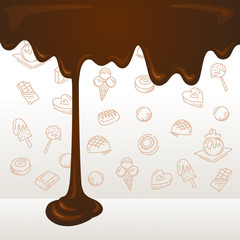 Fototapeta Do cukierni Melted chocolate background with dessert icons