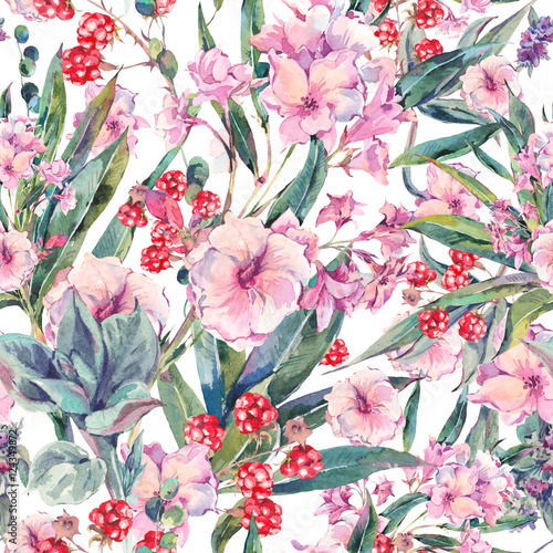 Cotton fabric Exotic vintage floral seamless pattern