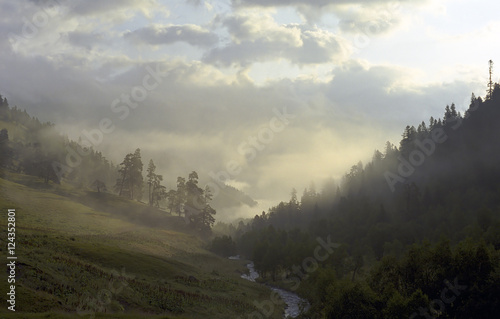 morning fog in mountain valley