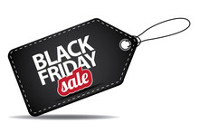 Black Friday Sales Tag. EPS 10 Vector, Grouped For Easy Editing. No Open Shapes Or Paths. Black Friday Design, Sale, Discount, Advertising, Marketing Price Tag. Clothes, Furnishings, Cars, Food Sale,