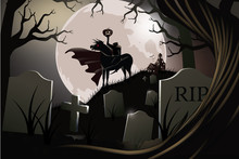 Headless Horseman. The Hessian Trooper Rides In A Haunted Graveyard. EPS 10 Vector.