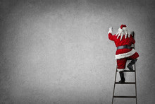 Santa Claus Stepping On The Stairs