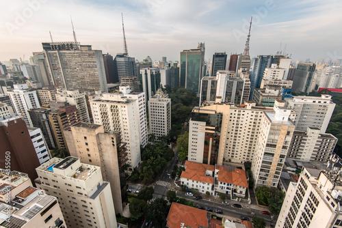 Aerial view of buildings around Paulista Avenue in Sao Paulo City