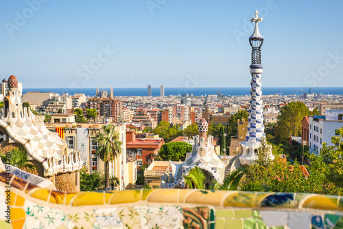 Garden Poster Barcelona Park Guell by architect Antoni Gaudi, Barcelona, Spain