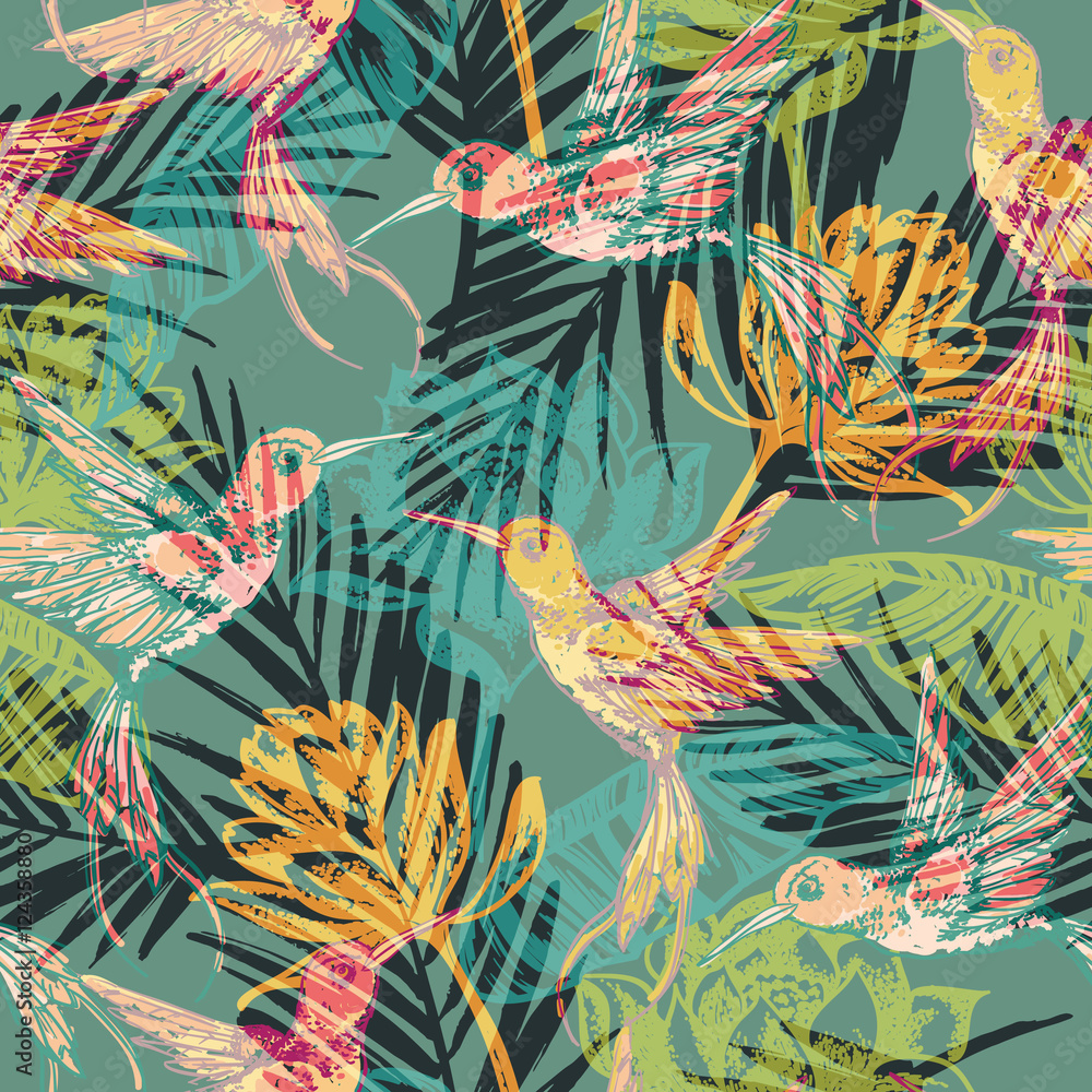 Fototapeta Seamless exotic pattern with abstract palm leaves and colibri.