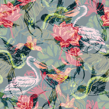 Hand Draw Tropical Fantasy Background.