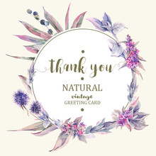 Vector Vintage Floral Greeting Card, Bouquet Of Thistles