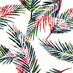 FototapetaSeamless exotic pattern with abstract palm leaves and tropical a
