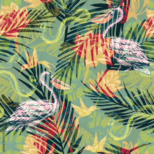 Deurstickers Paradijsvogel Seamless exotic pattern with abstract palm leaves and tropical a