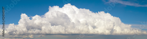 Canvas Prints Heaven Blue sky with big fluffy cumulus cloud wide panoramic background