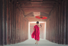 Buddhist Novice Is Walking In ...