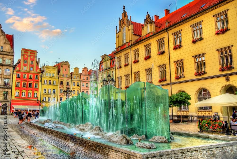 Fototapety, obrazy: Fontanna na Rynku Wrocławskim