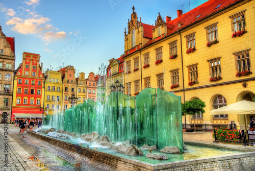 fototapeta na drzwi i meble Fountain on the Market Square of Wroclaw - Poland