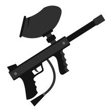 Paintball Marker Gun Icon. Fla...