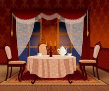 Cartoon Dark Living Room Interior In Classic Vintage Style.