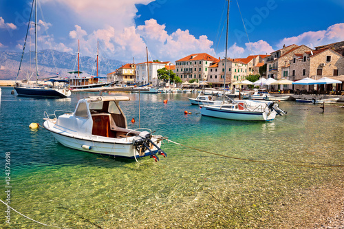 Canvas Prints Ship Turquoise beach and harbor of Postira village